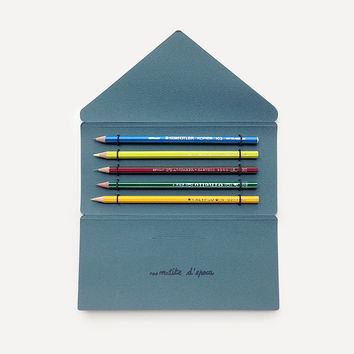Antica Cartotecnica Vintage Pencils, 5 Pencils in Dark Green Folder