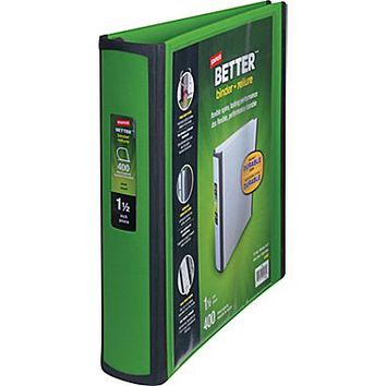 """1-1\/2\"""" Staples® Better® View Binders with D-Rings, Green 