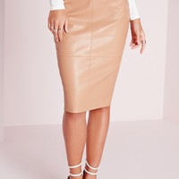 Missguided - Faux Leather Seam Detail Midi Skirt Camel