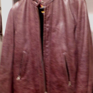 Schott Nyc Perfecto brand Leather Jacket Antique Brown   #588  Sz Large