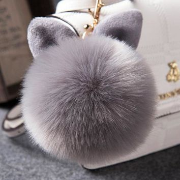 Fur Pom Pom Key chain Fake Rabbit fur