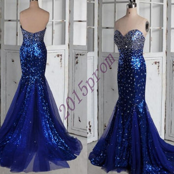 2015 New Dark Royal Blue Stunning Beaded Crystal Prom Dresses,Sweetheart Tulle Organza Mermaid Eveing Dresses,Formal Party Grown 2015