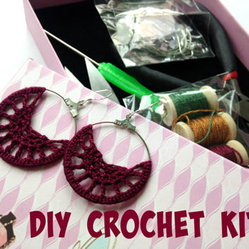 Crochet DIY Kit, Make Your Own Boho Earrings, Fiber Arts DIY Gift Set,  DIY Earrings Kit, Crafty Fingers Tool Box, Gift for Crocheters