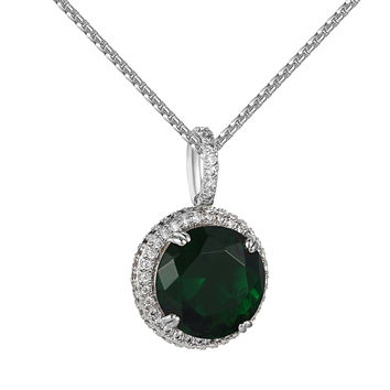 Hip Hop Green Ruby CZ Solitaire Pendant Stainless Steel Free Necklace Charm Set