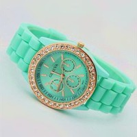 Mint Color Silicone Watch HF002 from topsales