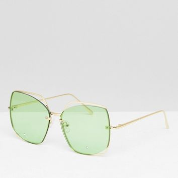 ASOS DESIGN Oversized Metal Square Sunglasses With Cut Away Detail & Diamonte at asos.com
