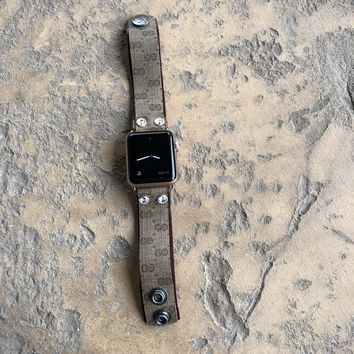 Skinny Apple Watch Band from UPCYCLED Vintage Gucci Bag w/crystals