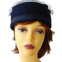 Pillbox Hat with Netting Genuine Fur Felt Navy Blue