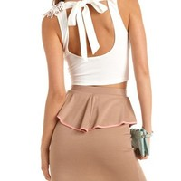 Lace-Front Tie-Back Crop Top: Charlotte Russe