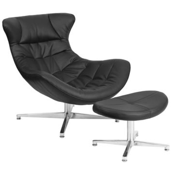Cocoon Retro Leather Lounge Chair with Ottoman