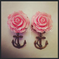 Bronze Anchor Rose Ear Plugs