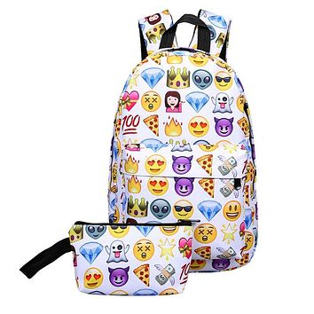 Sports gym bag New 2Pcs Outdoor Fasion 3D Printing Nylon Backpack Smiling Face Cute Smile Print Backpack Travel School  5 Patterns KO_5_1