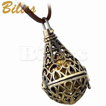 SHIPS FROM USA New Women Necklace Openable Hollow-Out Water Drop pendant 88cm Long Leather Chain for Women bijoux homme