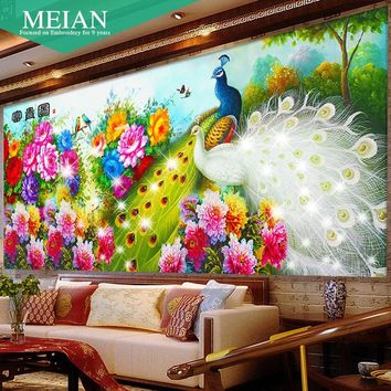 DIY 2016 New Crafts Perfect decoration 43 Kinds of color 5D Diamond Painting White Peacock Flower Diamond Embroidery Gift