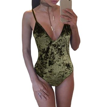 Women's Velvet Spaghetti Strap Body Suit 3 Colors