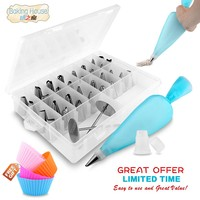 32 Pieces /set Stainless Steel Pastry Tubes Piping Storage Box Baking Tools Cakes Nozzles Decoration Kitchen Accessories