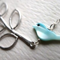 Little Bird on a Branch Necklace - Sterling Silver Necklace, Baby Shower Gifts