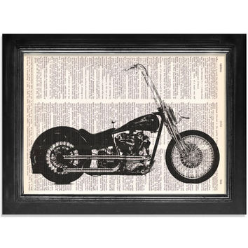 Harley Davidson with Ape Hangers - Printed on Vintage Dictionary Paper - 8x10.5 - Motorcycle Art Print