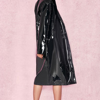 Clothing : Jackets : 'Maniri' Black Patent Vinyl Trench Coat