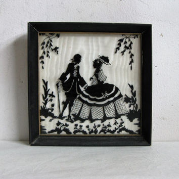 Vintage 40s Wall Hanging 1940s Silhouette Courting Couple Black Framed Home Décor Picture