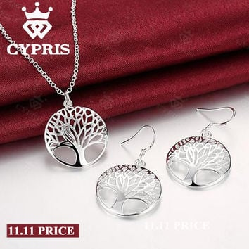 11.11 2016 Best Silver Tree Of Life jewelry set necklace earring 18inch totem gift wife girl friend women wedding Valentines