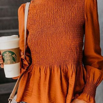 Orange High Neck Ruched Detail Long Sleeve Chic Women Blouse