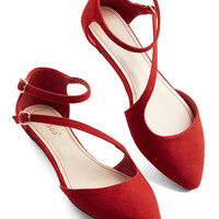 ModCloth A Day in Your Shoes Flat in Rouge