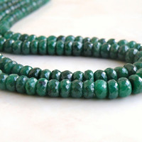 51% Off Sale Emerald Gemstone Faceted Rondelle 4.5mm 45 beads