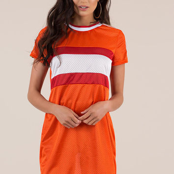 My Game Striped Sports Mesh Shirt Dress