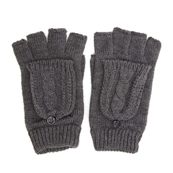 FOREVER 21 Convertible Knit Gloves Charcoal One