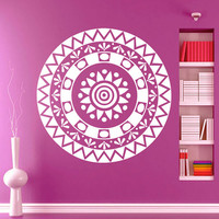 Flower Wall Decals Mandala Om Yoga Indian Pattern Oum Sign Living Room Interior Vinyl Decal Sticker Art Mural Bedroom Kids Room Decor MR376