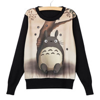 New Fashion Totoro Printed Pullovers Women Autumn Design Cartoon Lovely Sweaters Female Long Sleeve Ladies Knitted Sweater