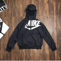 NIKE Woman Men Fashion Sport Hooded Cardigan Jacket Coat Windbreaker