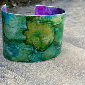 Metal Cuff Bracelet, Wide Cuff Metalwork, Green and Pink Inked, Adjustable Metal Bracelet, Thick Arm Band
