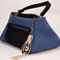 Blue Purse Small Purse Blue Small Purse Cross Body Purse Blue Hand Purse Blue and Black Small Purse Black Shoulder Strap Purse Bucket Purse