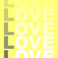 Love Typography Photo, Poster or Canvas Print Wall Decor Grey Yellow White Black