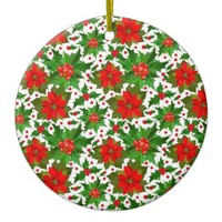 Red Poinsettia Ceramic Ornament