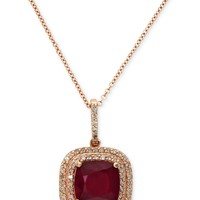 Rosa by EFFY Ruby (3-1/8 ct. t.w.) and Diamond (1/4 ct. t.w.) Drop Pendant in 14k Rose Gold