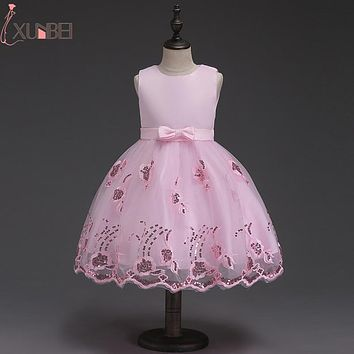 Pretty Knee length Tulle Flower Girl Dresses 2018 Pageant Dresses First Communion Dresses For Girls robe enfant fille mariage