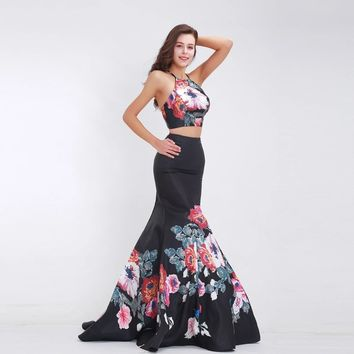 Black Two Piece Prom Dresses Halter Sexy Backless Pattern Mermaid Long Elegant Special Occasion Dresses Party Gowns 2019