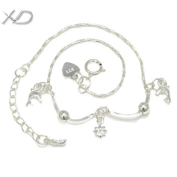 XD 925 sterling silver fine jewelry small dolphins charms bracelet  chain link on best price for fashion ladies bracelets  S017