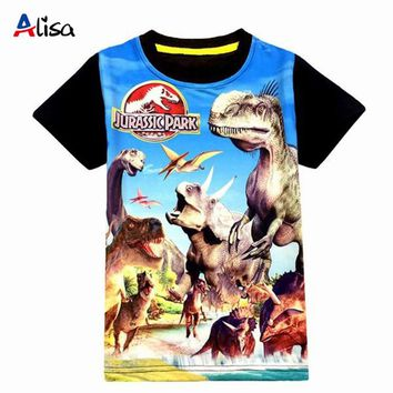 3-9ages Jurassic World dinosaur children boys t shirt summer baby kids boys tops tee t shirts for children boys clothes garments
