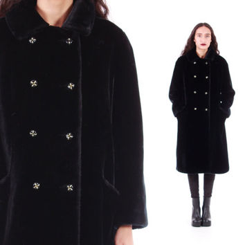 60s Black Faux Fur Coat Long Thick Soft Double Breasted Goth Mod 60s 70s Vintage Perfection Winter Outerwear Womens Size Medium Large