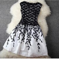 Elegant fashion lace stitching leaves aqueous printing temperament dress for women = 1955593284