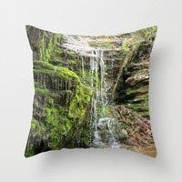Moss Pillow, Waterfall Pillow, Green Pillow Cover, Enchanted Forest, Wanderlust Pillow, Fairy Tale Pillow, Nature Pillow Cover, 16X16