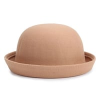 Camel Roll Up Brim Wool Hat