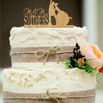 Beach Wedding Cake Topper,Bride and Groom Cake Topper,Funny Cake Topper,Rustic Cake Topper,Custom Tree Cake Topper,Mr and Mrs cake topper
