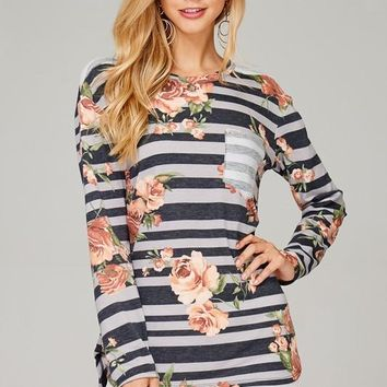Mixed Prints Floral & Striped Top (Charcoal)