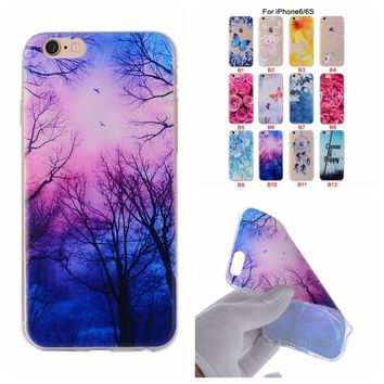 Cartoon Flower Butterfly Bear Tree Painted Back Cover Silicon Gel Soft TPU Mobile Phone Case For iPhone 6S 6 coque 6G celular <;