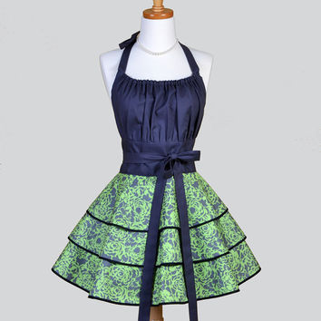 Flirty Chic Apron - Charcoal Gray and Luscious Green Floral Three Layer Flirty Skirt Rockabilly Cute Sexy Retro Womens Apron